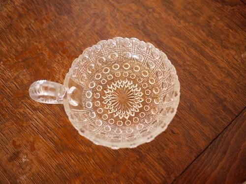 プレスガラストレイ ハンドル付 ヴィンテージ 小皿 キャンドルホルダー