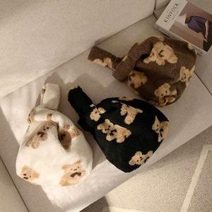 bear tote bag C 3colors / ベア トートバッグ テディーベア エコバッグ くまさん 韓国雑貨