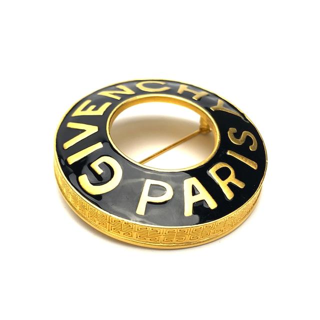 GIVENCHY ジバンシィ ロゴ 丸形 ブローチ ゴールド  vintage  ヴィンテージ オールド zhpiu3