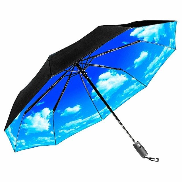 REPEL ブルーの青空雲デザインが爽快で風に強い 耐風 自動開閉 折り畳み傘