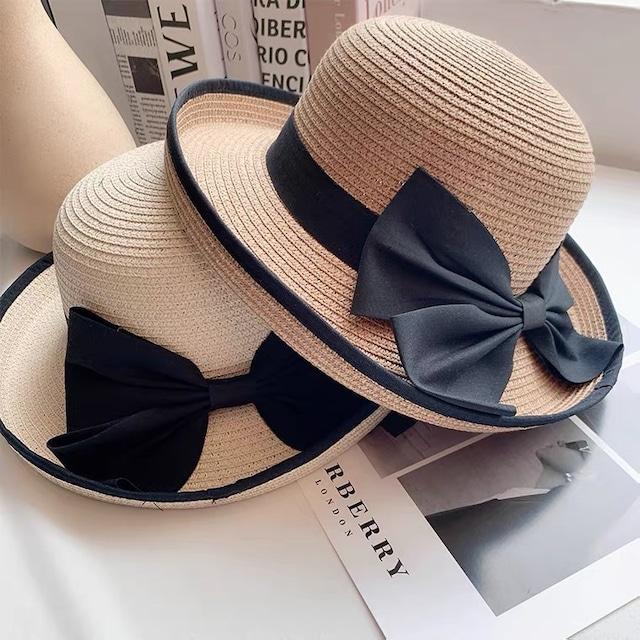 フェミニン♡リボン付きブリムアップ麦わら帽子 C0244