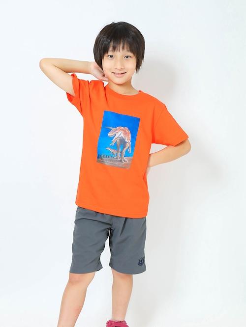 フクイラプトル復元画プリントTシャツ子供用 カリフォルニアオレンジ【KT-FR】