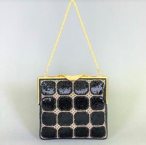 ビーズ刺繡 ハンドバッグ (黒)