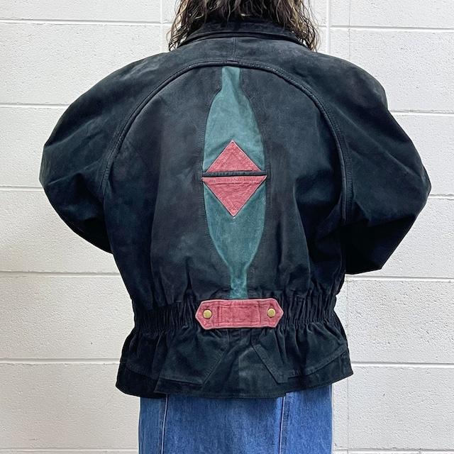 80年代 本革スウェードレザー ドルマンスリーブ デザインジャケット アメリカ古着