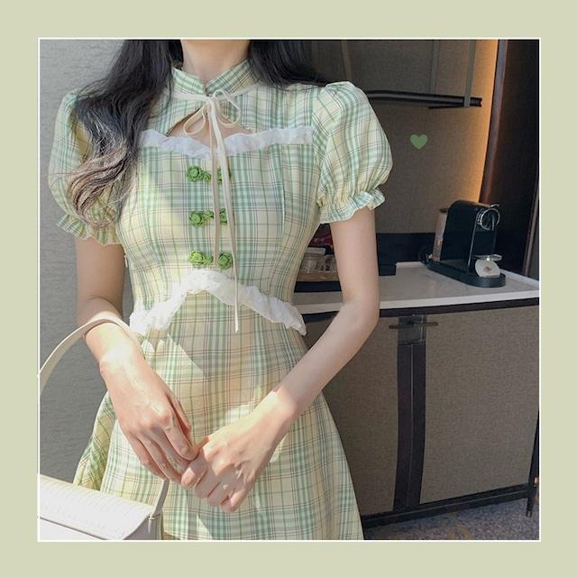 【RUANMEIシリーズ】★チャイナ風ワンピース★ チャイナドレス チェック柄 半袖 グリーン 緑 ショート丈