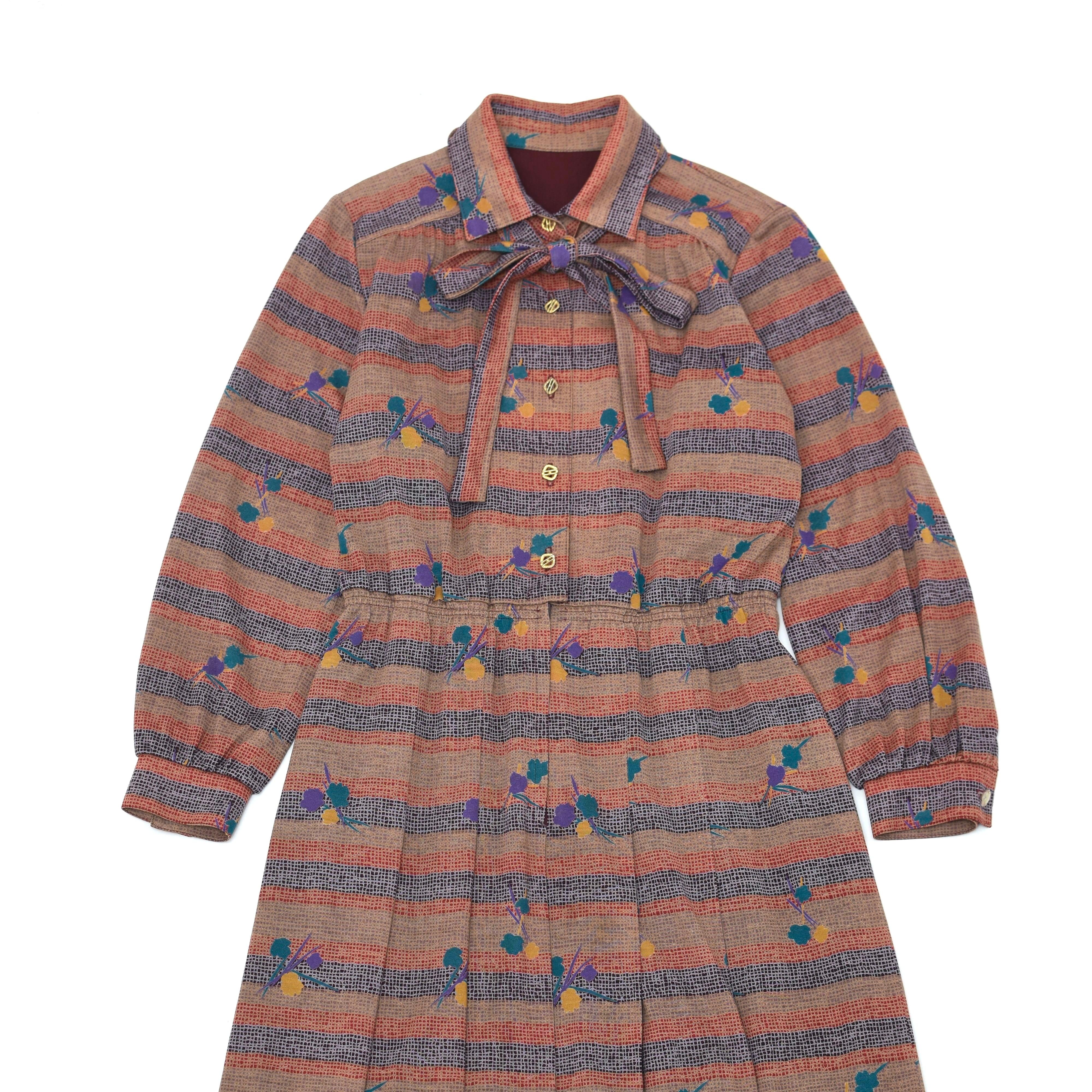 Vintage retro pattern bowtie one piece