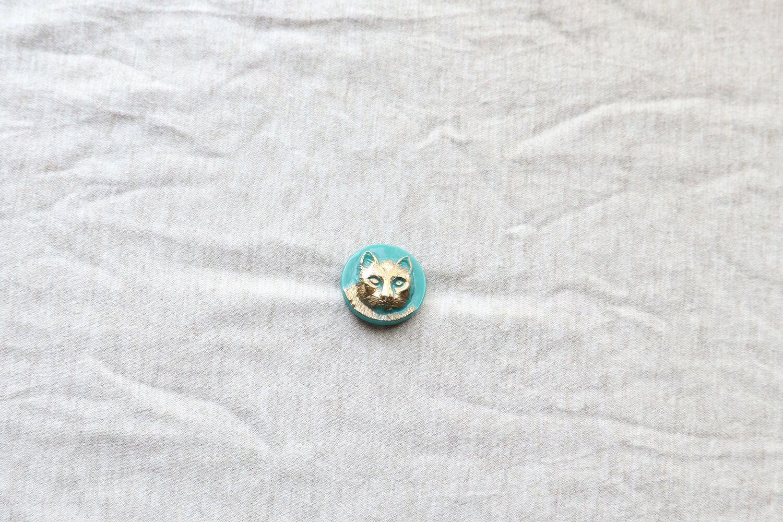 【チェコ】猫のガラスボタン/緑