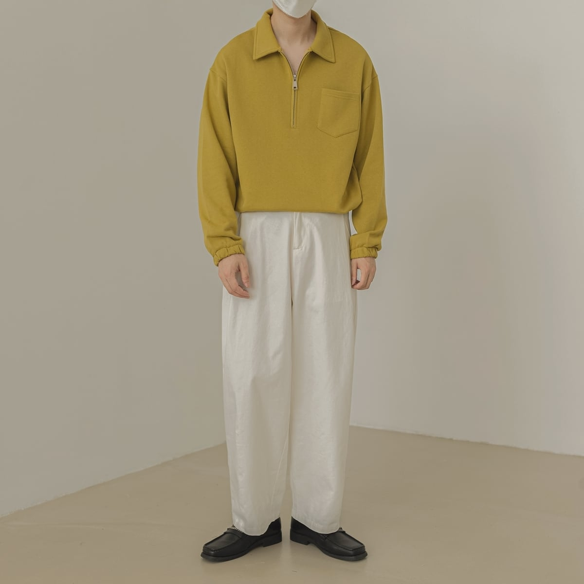 Lapel zipper polo shirt   b-401