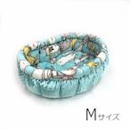ふーじこちゃんママ手作り ぽんぽんベッド(サテンミント・ねこ日常柄)Mサイズ【PB9-121M】