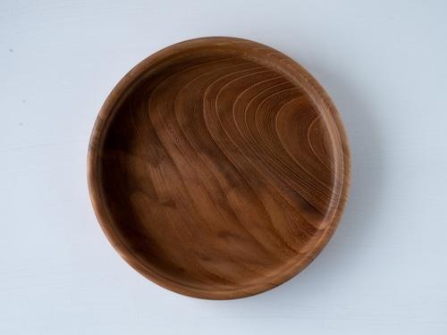 【訳あり】【現品限り】けやき  良い木目の小さな丸盆 裏に小さな干割れ 直径20㎝ 無塗装