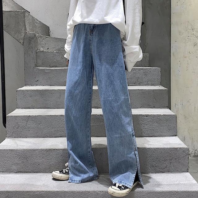 《即納》サイドスリット・デニムワイドパンツ【砂糖華さん着用】