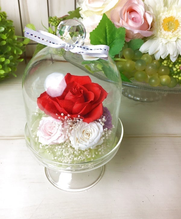 【母の日】プリザーブドフラワークリスタルドーム Red【贈り物に】