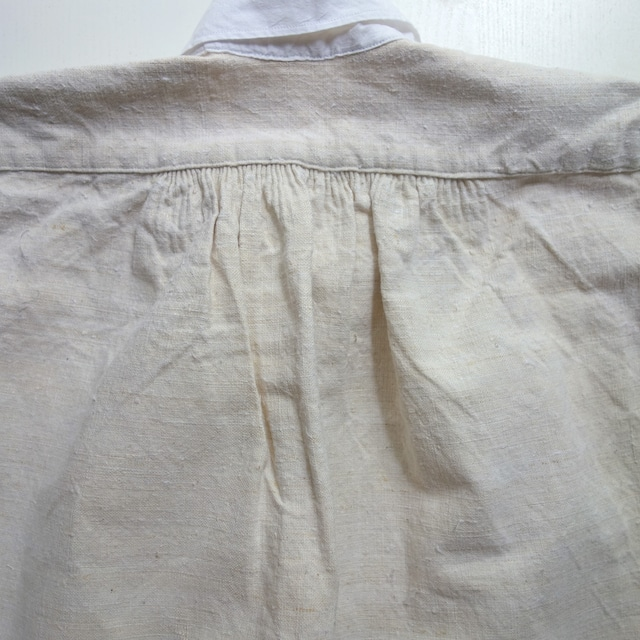 """【MADE IN FRANCE】【DEADSTOCK】PAYSAN リネンロングスリーブシャツスモック """"BLOUSE PAYSANNE D'ANTAN"""""""