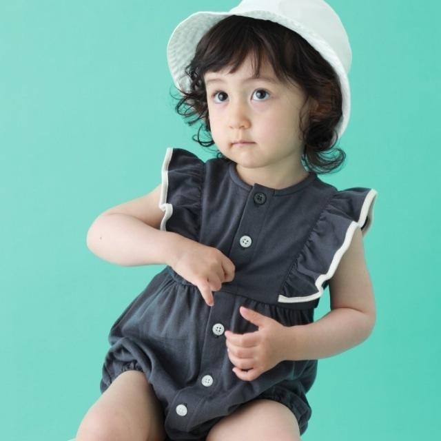 【ベビー服】フリルスリーブリラックスショートオール / チャコール / 70.80サイズ