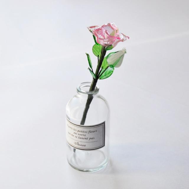 グラスフラワー「ピンクのバラ(小瓶付き)」