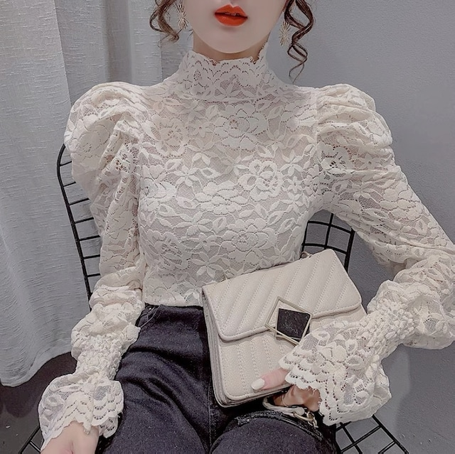 puff sleeve lace tops 2color