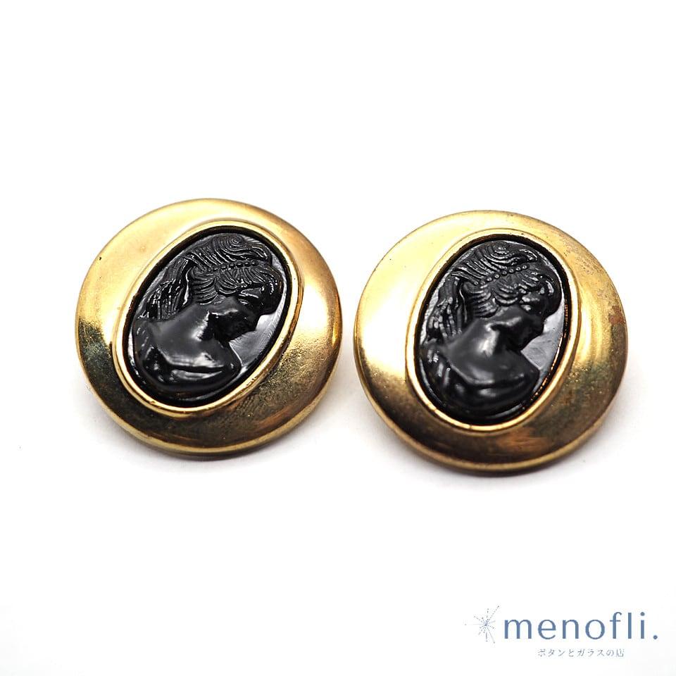 2pc ペアボタン 黒カメオ プラスチックボタン pairb 20210706