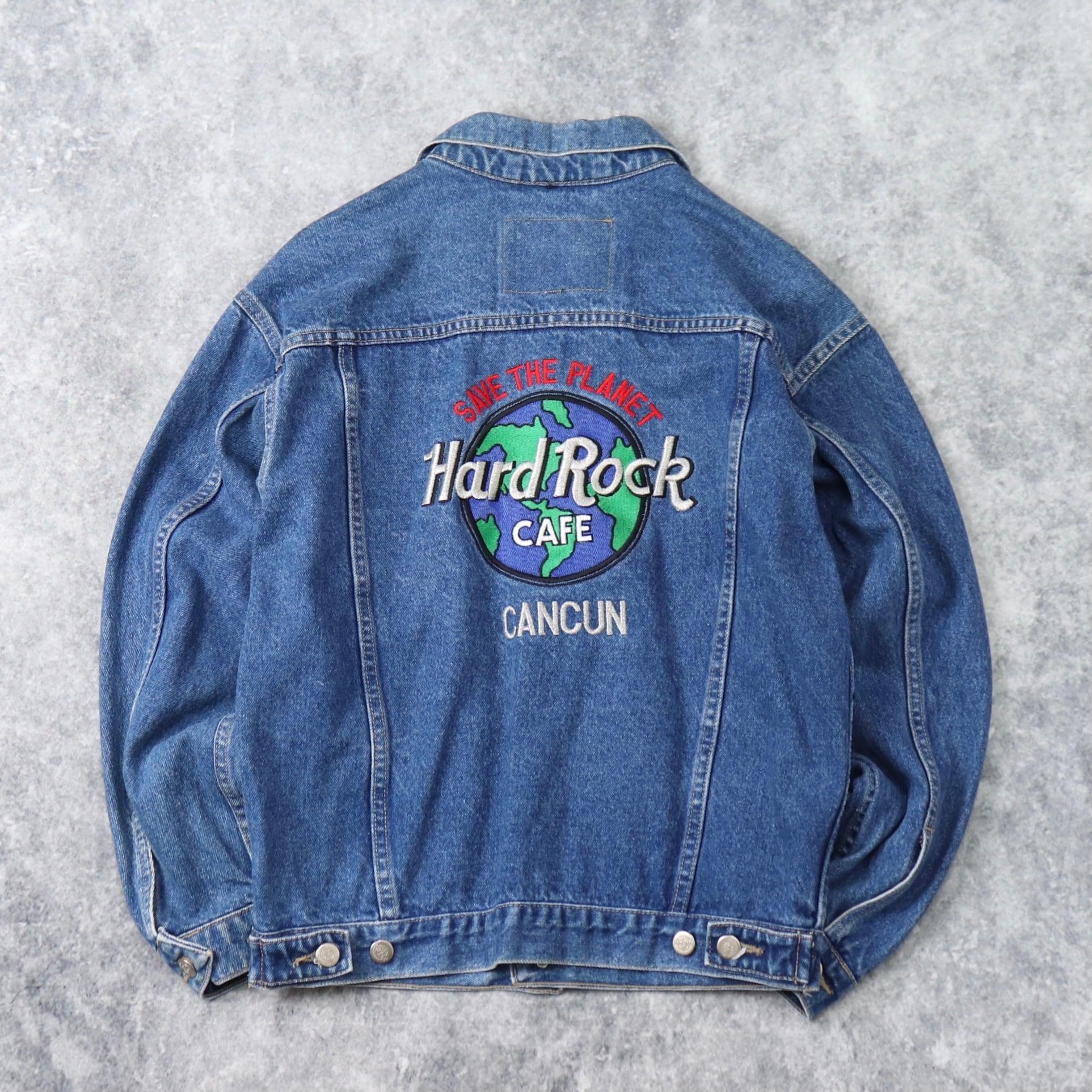 """90年代 """" Hard Rock CAFE """" デニムジャケット 刺繡 S 古着 b251"""
