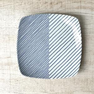 【波佐見焼】【白山陶器】【重ね縞】【反角中皿】 角皿 hakusan