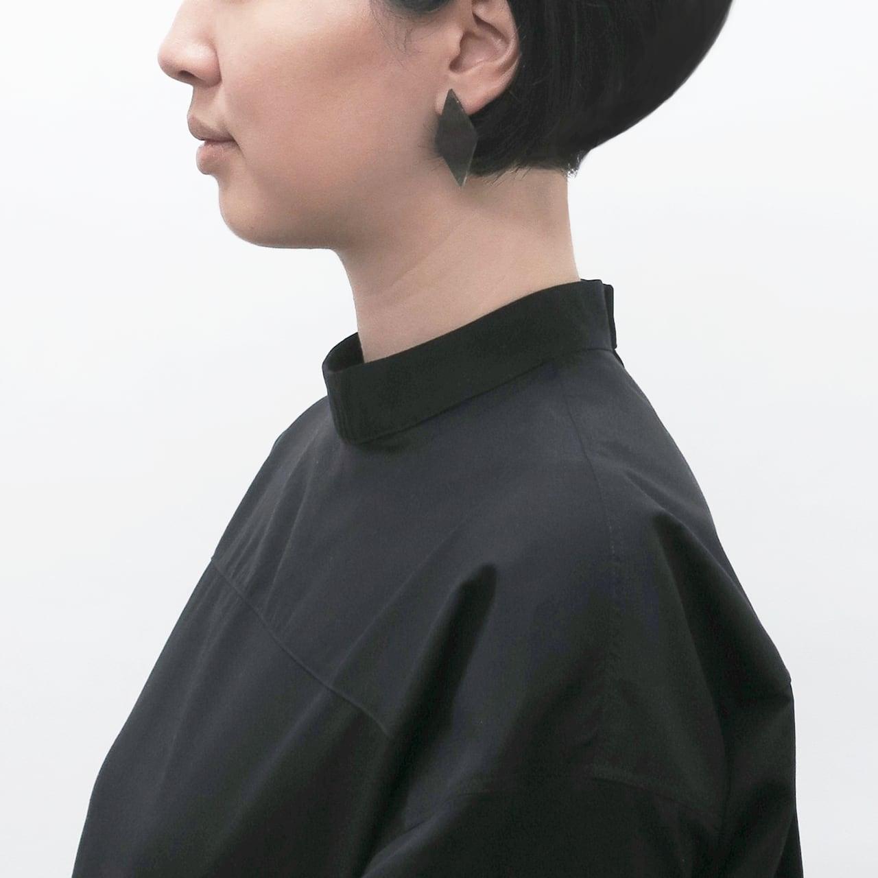 泥染/煤染/幾何学/片耳用ピアスイヤリング/E-6_DS_DR