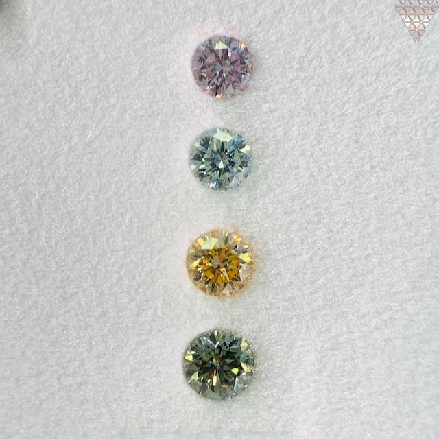 合計  0.57 ct 天然 カラー ダイヤモンド 4 ピース GIA  3 点 付 マルチスタイル / カラー FANCY DIAMOND 【DEF GIA MULTI】