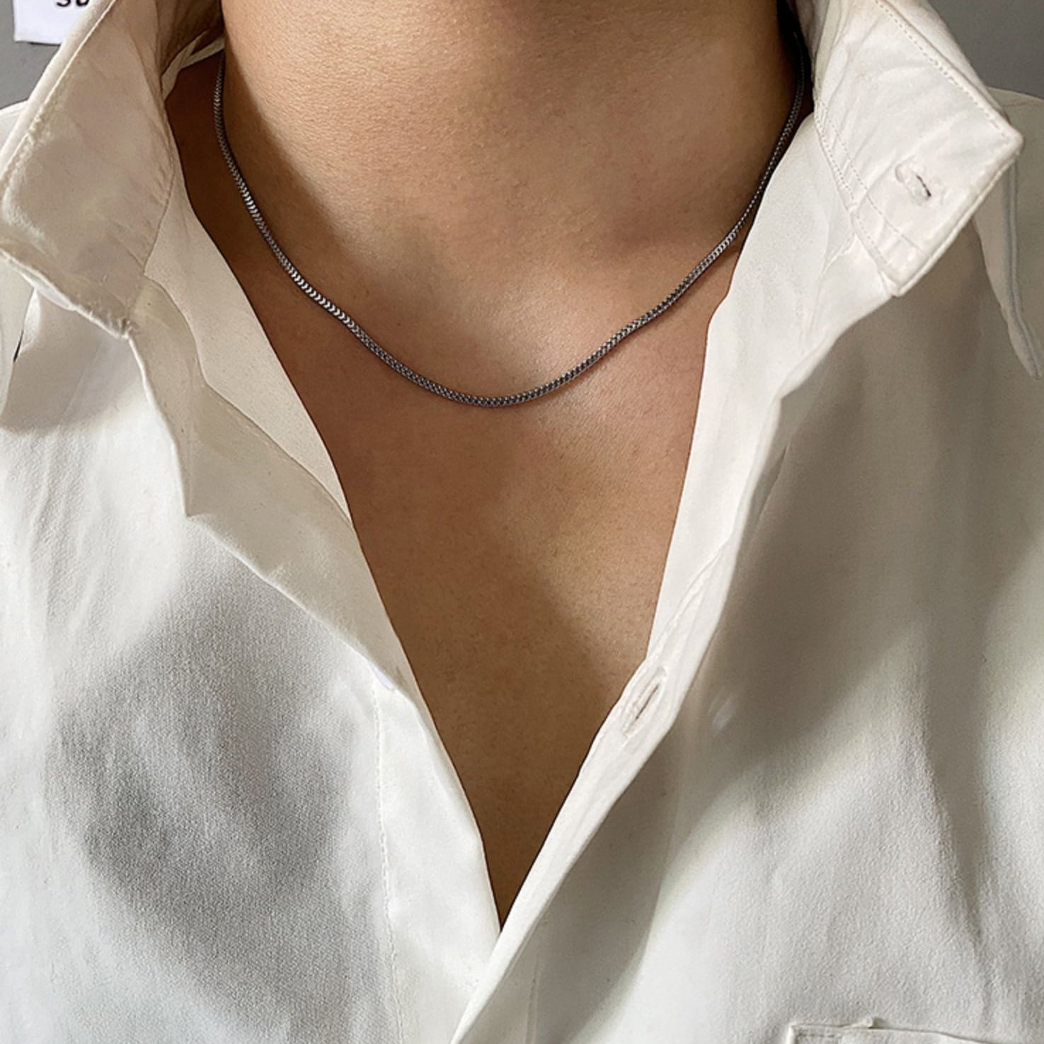 Silver clavicle necklace   a-368