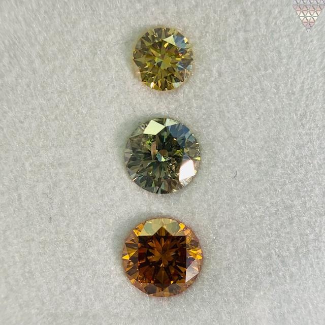 合計  1.13 ct 天然 カラー ダイヤモンド 3 ピース GIA  2 点 付 マルチスタイル / カラー FANCY DIAMOND 【DEF GIA MULTI】