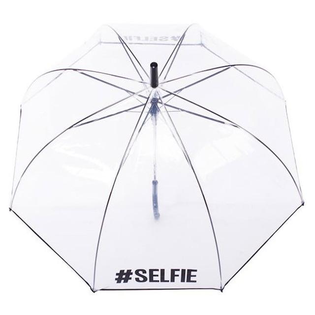 セルフィーロゴ #Selfie クリアー ドーム型 ビニール傘 ワンタッチオープン