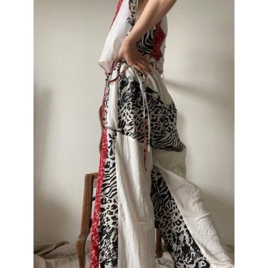 【RehersalL】ethnic high waist pants(light B)/【リハーズオール】エスニックハイウェストパンツ(ライトB)