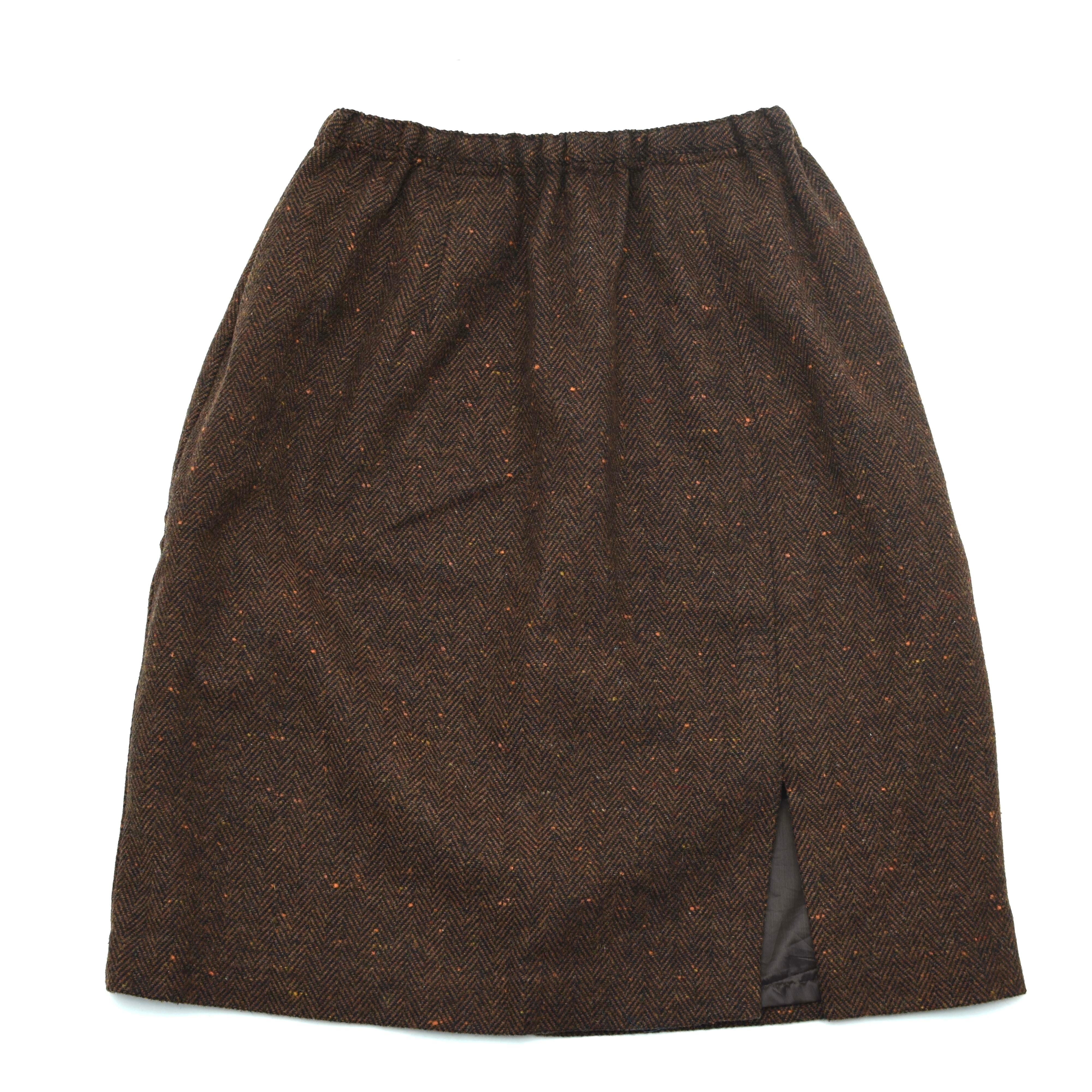Herringbone color nep wool tight skirt