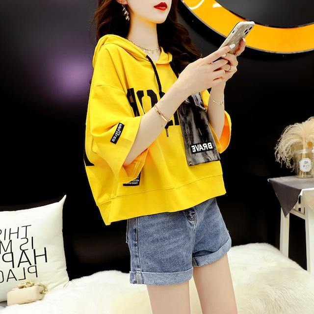 【トップス】韓国系半袖フード付きプルオーバーTシャツ49707051