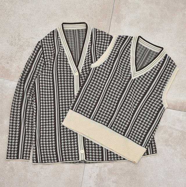 Jp vtg Houndstooth knit vest & cardigan