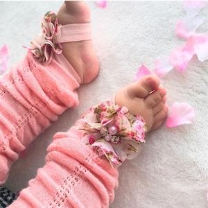 小花柄フラワー × パール&ビジュー ベアフットサンダル(ベビーピンク)ベビー用 足飾り