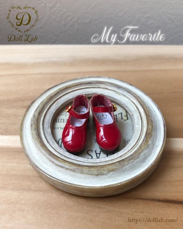 エナメルおでこ靴 赤 ドール シューズ ブライス D2006-RED-30