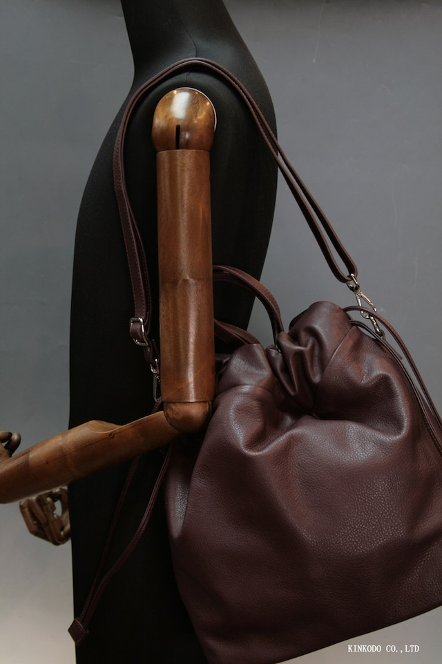 巾着型トートバッグ(ボルドー小豆色)IO PELLE 革製 イタリー製
