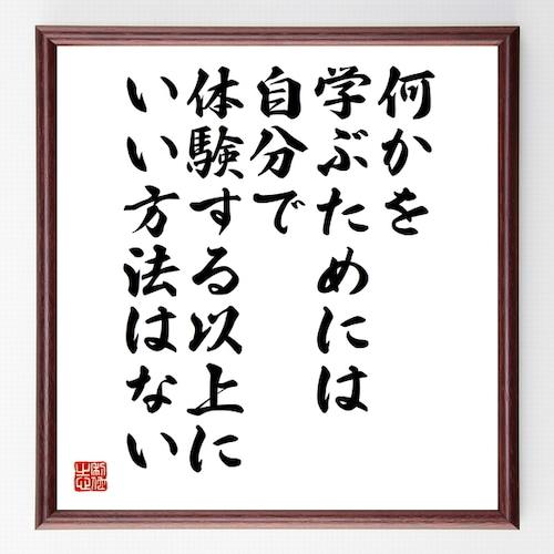 アインシュタインの名言書道色紙『何かを学ぶためには、自分で体験する以上に、いい方法はない』額付き/受注後直筆(千言堂)Z0072