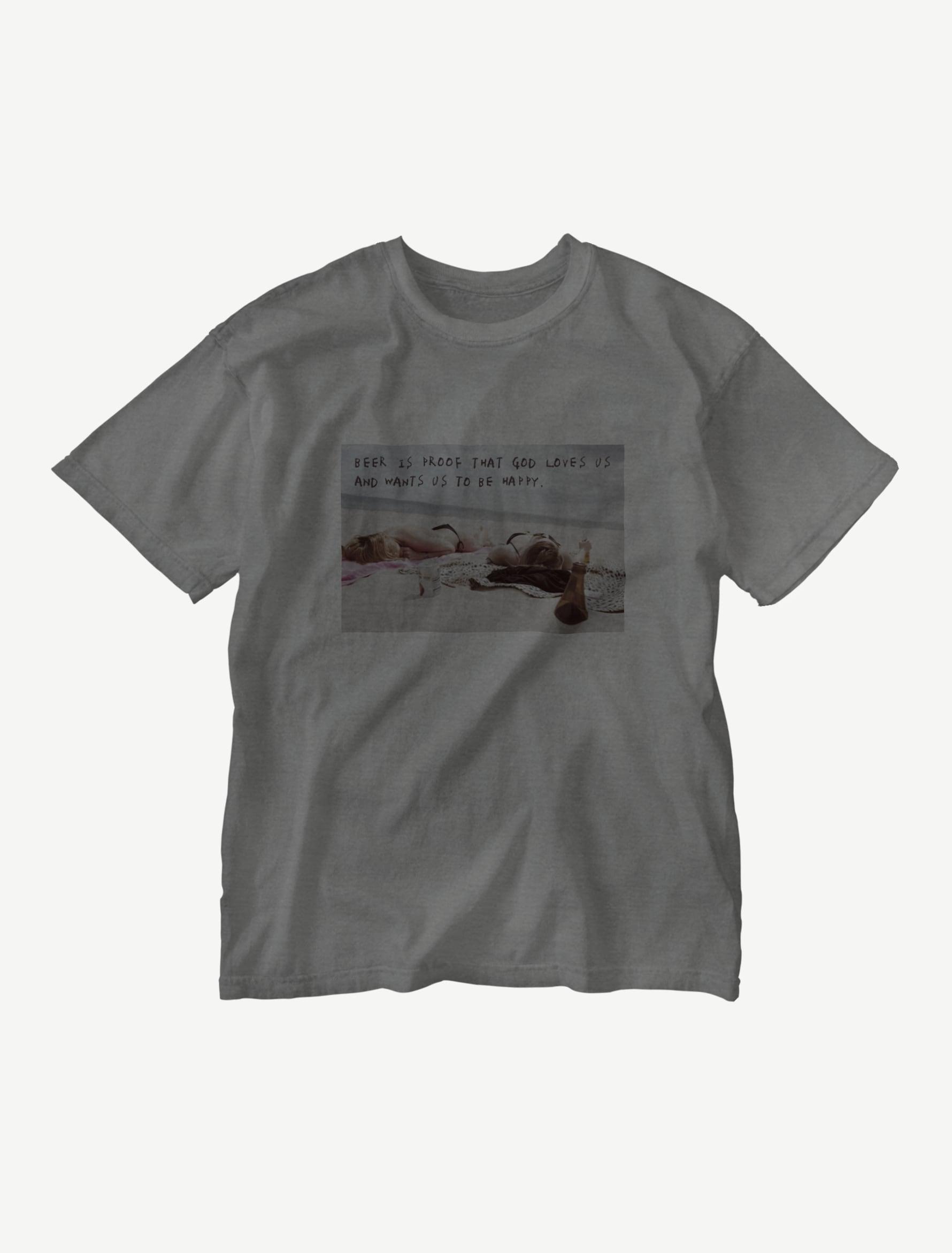 【悩み無用の開放ビーチ】ウォッシュTシャツ(コショウブラック)