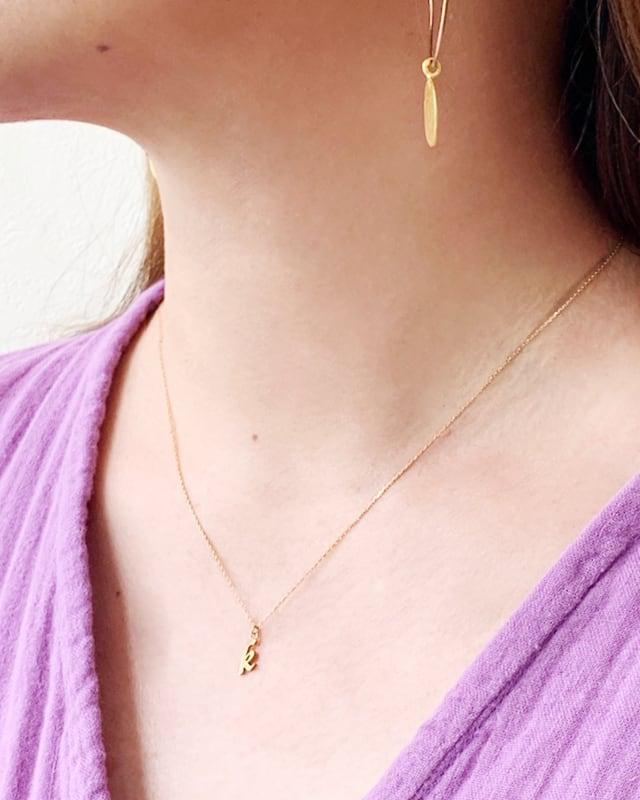 "K18  initial  "" k ""  necklace  /  Belleza by n"