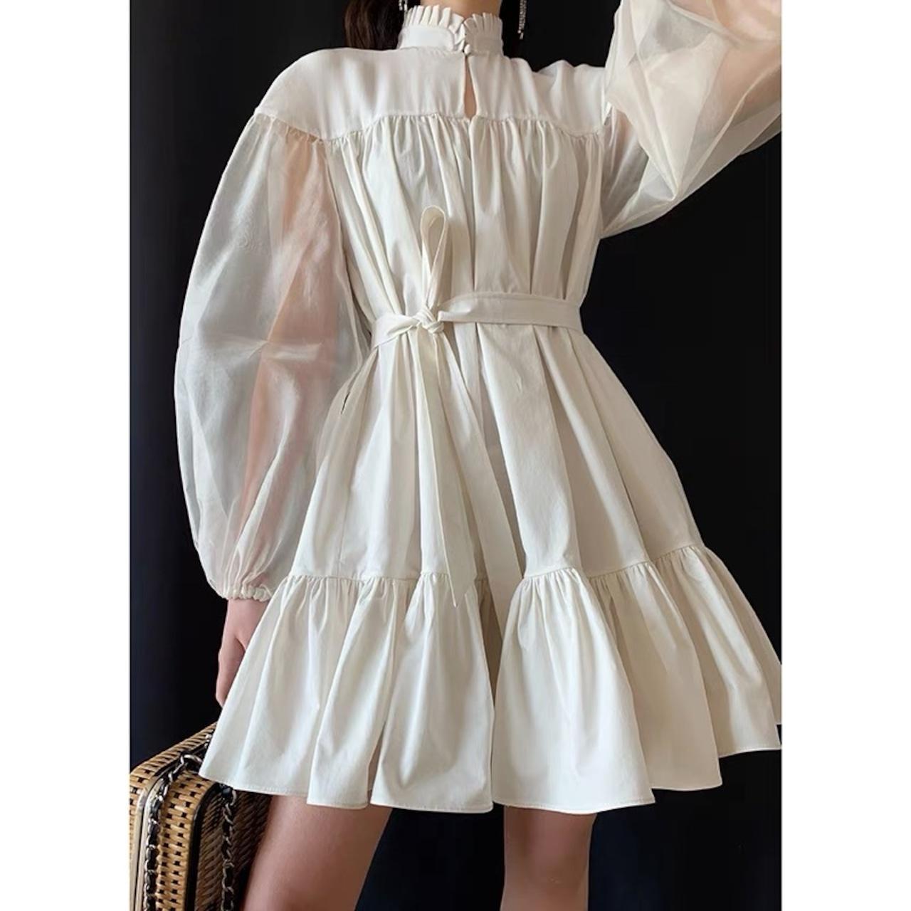 see-through sleeve white dress
