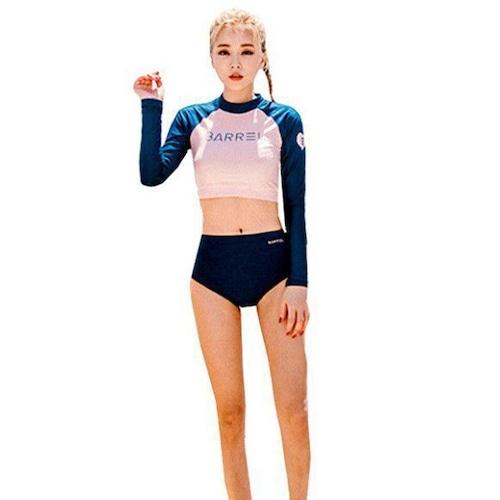 レディース水着 タンキニ ラグラン袖 バイカラー 競泳 2点セット 長袖 ライン パーカ 夏 体型カバー ネイビー ピンク フィットネス サーフィン 日焼け防止 ラッシュガード セパレーツ w704