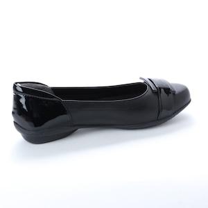 SHOEL(シュール) 本革 バレエパンプス  E6475 ブラック シルバー ベージュ