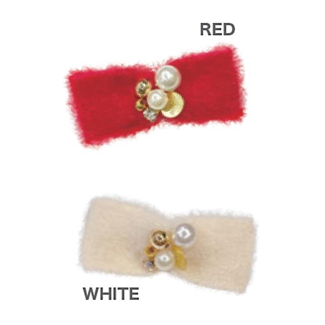 【予約】GodPiva ふわふわビジュー リボンバレッタ RED / WHITE
