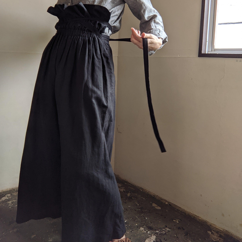 【 AKIRAFURUKAWA × ume 】別注 Wネーム / 復刻 リネンパンツ / black