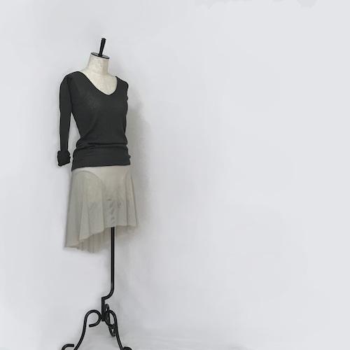 ◆Minimalist Ballet Skirt: SILVER GRAY (ミニマリスト・プルオンバレエスカート(シルバーグレー))