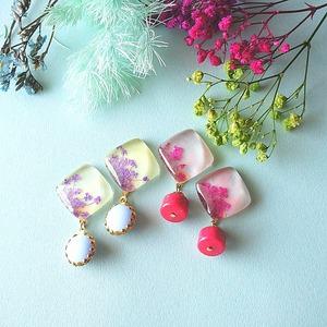 """"""" Earrings NO.0-1858″ パープルレースフラワー ヴィンテージビーズ"""