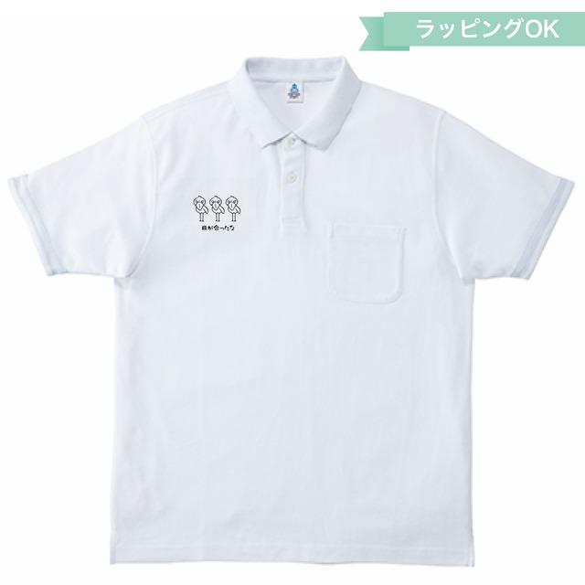 2カラーポロシャツ★ハシビロコウ【ホワイト×ブラック】