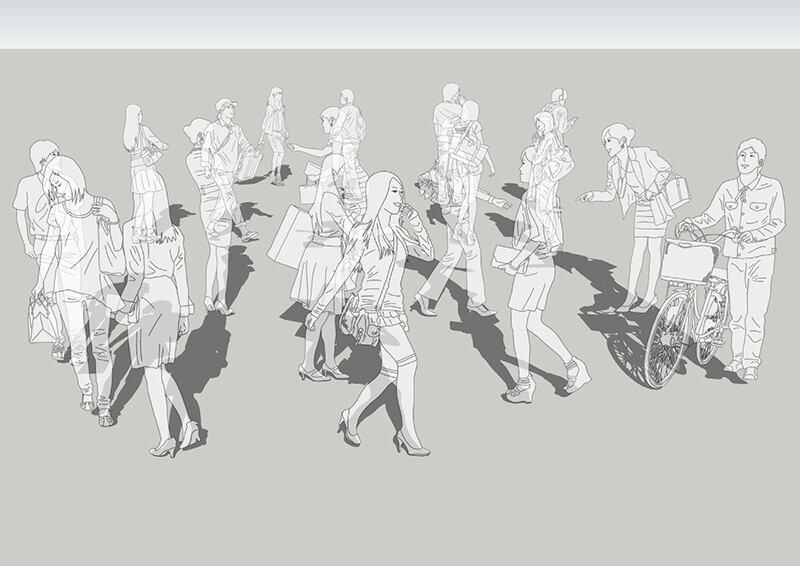 人物線画SketchUp素材 4up_line01_20_2 - 画像1