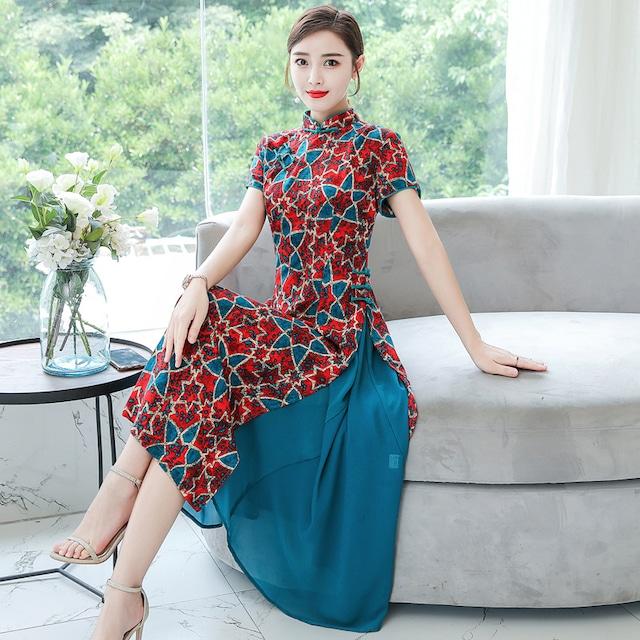 チャイナ風ワンピース アオザイ チャイナ風服 中華服 大きいサイズ M L LL 3L 4L 5L