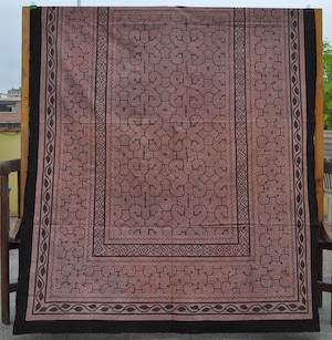 ベッドカバー 23 超特大 210x150cm AAA  アマゾン シピボ族の泥染め 薄紫