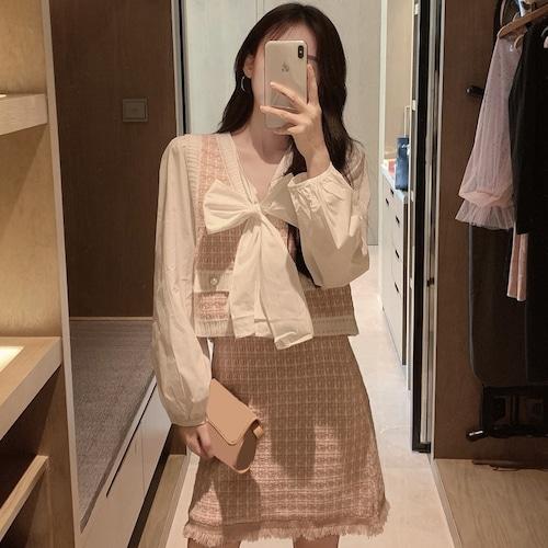 3点セット ベスト スカート ブラウス ミニスカート 韓国 ファッション セットアップ ボウタイ リボン スーツ 長袖 レトロ DTC-602576595331